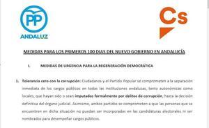 Las 21 medidas para los primeros 100 días del nuevo Gobierno andaluz: dimisión de los imputados, eliminar aforamientos o bajada de impuestos