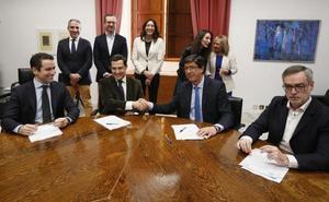 Reparto del Gobierno en Andalucía: Cs tendrá 5 consejerías y la vicepresidencia