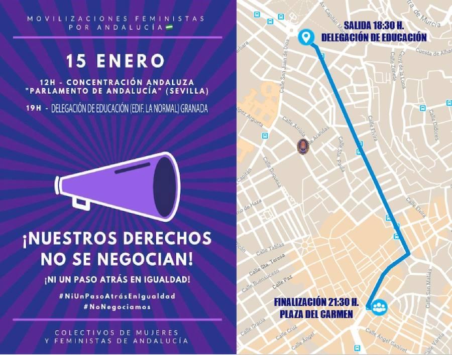 Cortes de tráfico esta tarde en Granada por la 'Manifestación feminista por Andalucía'