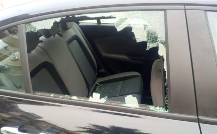 Así ha quedado el coche de Uber tras el presunto ataque por parte de un taxista