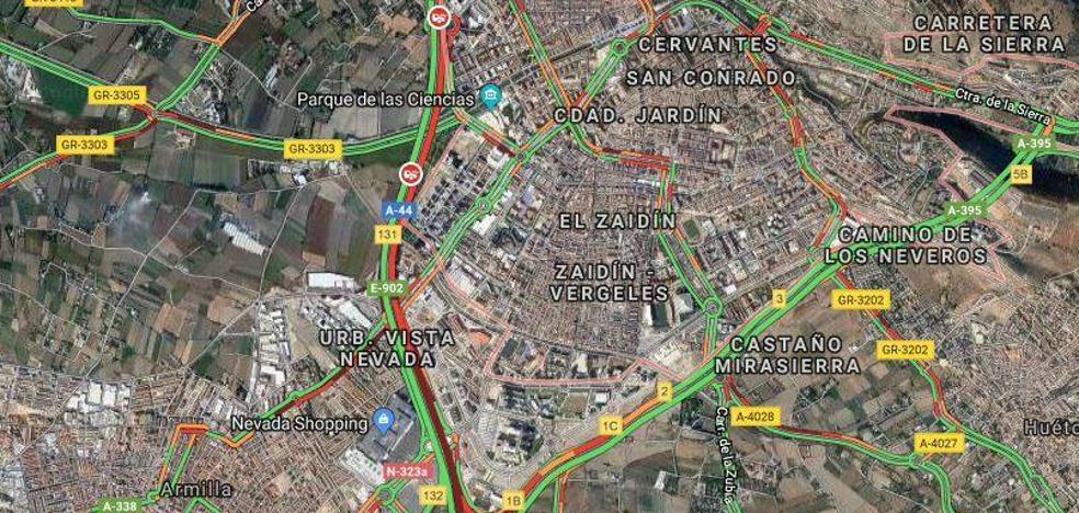 Tres alcances paralizan la Circunvalación de Granada a primera hora de la mañana