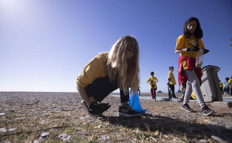 Escolares retiran 175 kilos de basura de la playa