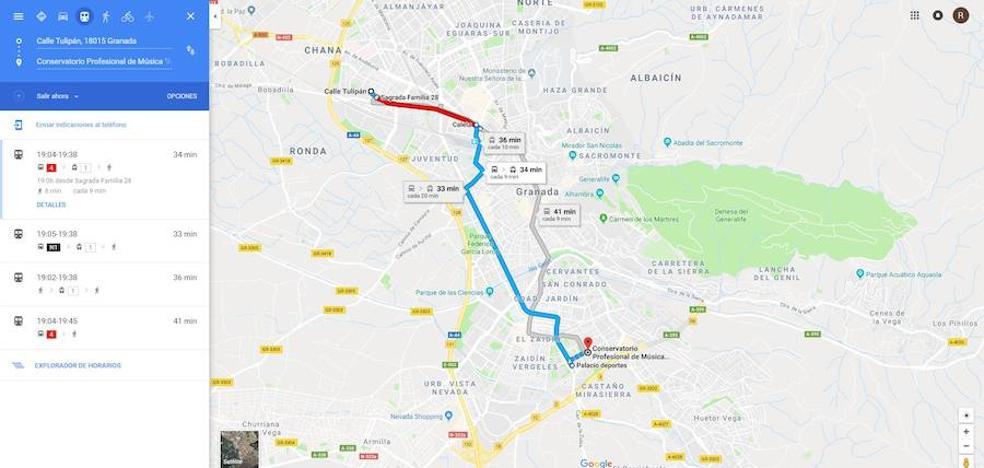 Google Maps ya incluye el Metro de Granada en sus rutas