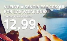 Vueling pone a la venta 110.000 plazas a partir 12,99 euros