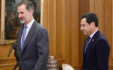 Juanma Moreno traslada al Rey la «lealtad» del Gobierno andaluz