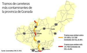 Tres tramos de carretera de Granada, entre los más contaminantes de España