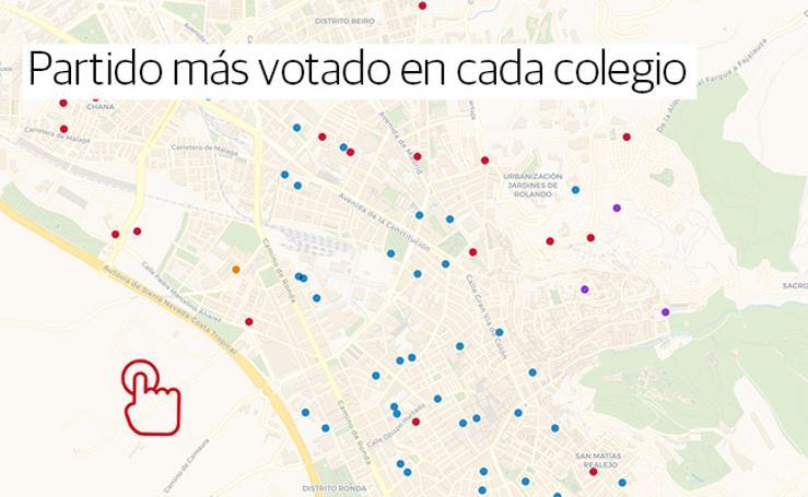 Gráfico interactivo: consulte qué ha votado cada colegio de Granada