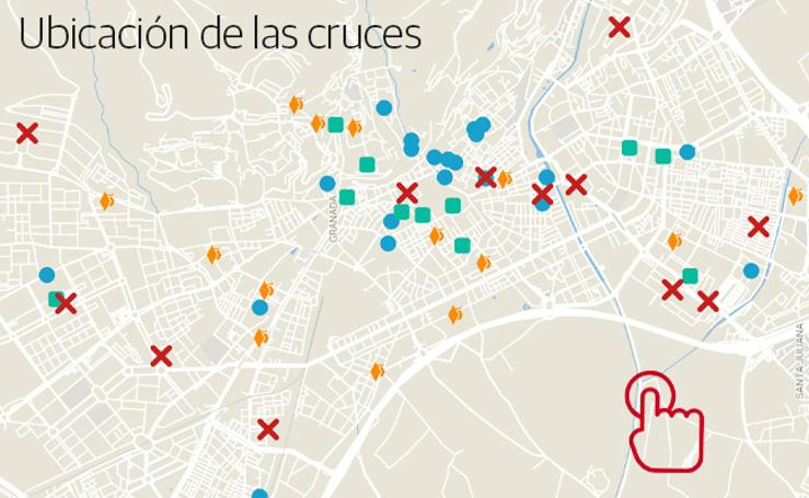 Ubicación de las cruces en Granada