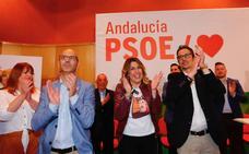 Susana Díaz, en Santa Fe: «Andalucía ha dicho que es de izquierdas. Moreno es presidente... por ahora»