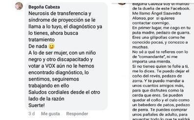 Denuncian amenazas de violación de un teniente coronel y marido de una candidata de VOX a una mujer