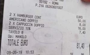 81 euros por dos hamburguesas y tres cafés: el timo a unos turistas que se ha hecho viral