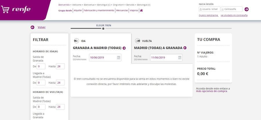 Granada sigue sin billetes de tren a la venta para ningún destino desde el 10 de junio