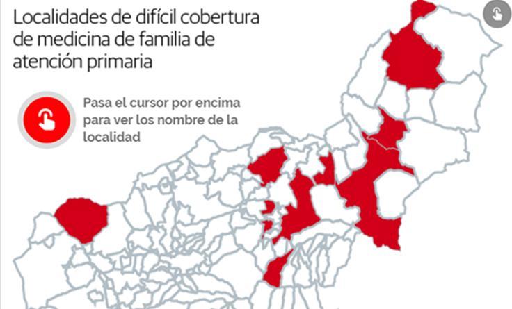 Localidades de difícil cobertura de medicina de familia de atención primaria