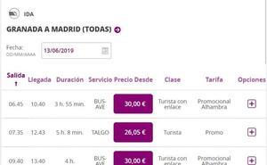 Renfe desbloquea la venta de billetes desde Granada a partir del 9 de junio