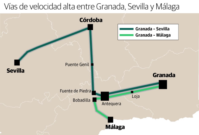 Vías de alta velocidad entre Granada, Málaga y Sevilla