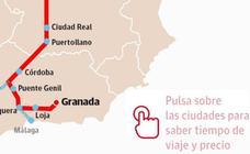 ¿Hasta dónde puedo viajar en AVE desde Granada?
