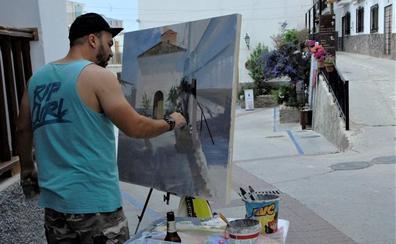 El malagueño Cristóbal León García gana el primer premio de pintura rápida de 'La Casa de la Alpujarra'