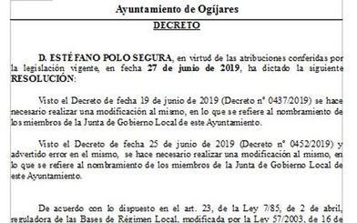 El alcalde de Ogíjares rectifica y deja a Podemos fuera de la junta de gobierno local