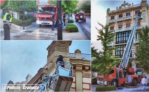 Cae un trozo de fachada en plena Gran Vía de Granada