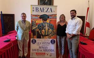 Lea Vicens, Román y David de Miranda, terna del festejo de Baeza
