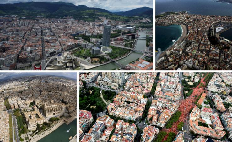 10 ciudades españolas a vista de pájaro