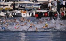 El malagueño Pablo Cordero y la motrileña Tamara Frías reinan en la LXXX travesía a nado del Puerto de Motril