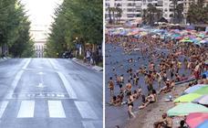 Las playas abarrotadas en la Costa contrastan con las calles de la capital desiertas