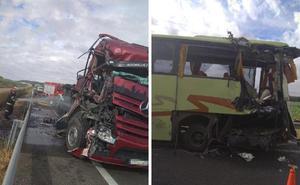 Chocan un camión con cerdos y un autobús y hay seis heridos