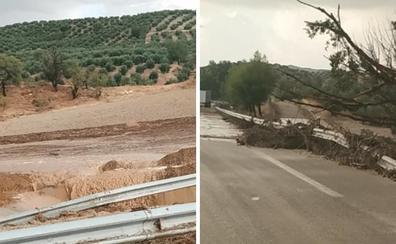 Una tromba de agua corta la A-44 entre Granada y Jaén a la altura de Campotéjar