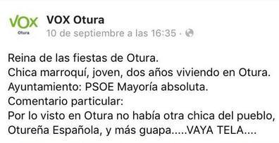 Vox afirma que la publicación xenófoba sobre la joven de Otura «no representa los valores del partido»