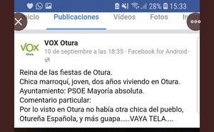La fiscalía recaba datos del comentario de VOX sobre la reina de las fiestas de Otura