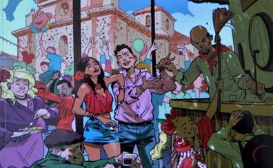 Cádiar 'ficha' al granadino que dibuja a Batman y Superman para el cartel de sus fiestas