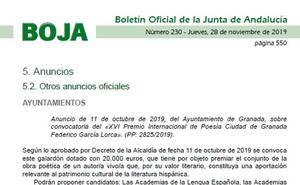 El Premio Lorca 'caduca' antes de salir en el BOJA