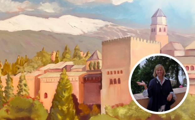 En la imagen principal, el cuadro que pintó de la Alhambra. En la foto pequeña, Donna durante su segundo viaje a Granada./DONNA CARRICK