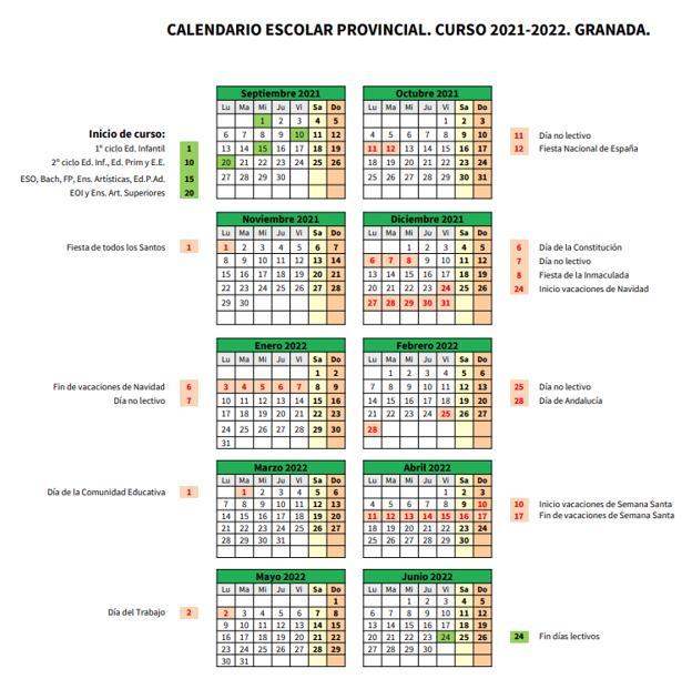 Calendario escolar 2021-22 de Granada.