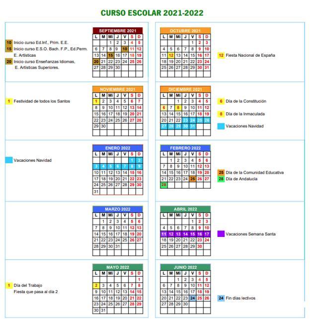 Calendario escolar 2021-22 de Sevilla.