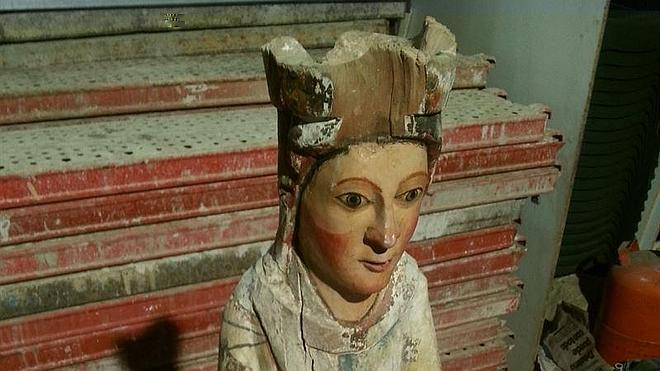 Encuentran una virgen del siglo XII en unas obras de albañilería en Guadalajara