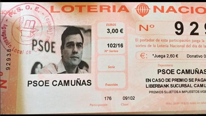 Una agrupación socialista de Toledo vende Lotería de Navidad con la cara de Pedro Sánchez