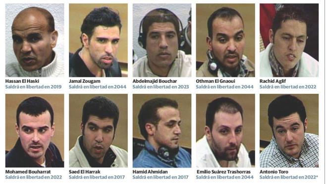Diez de los 18 condenados por el 11-M siguen presos 13 años después de los atentados