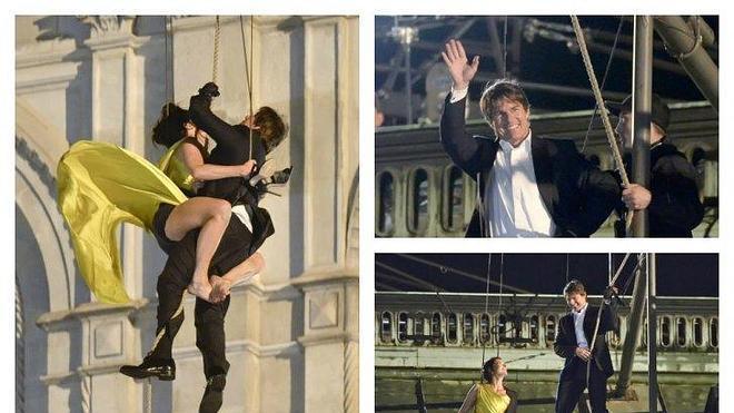 Tom Cruise, por los aires en el rodaje de Misión Imposible
