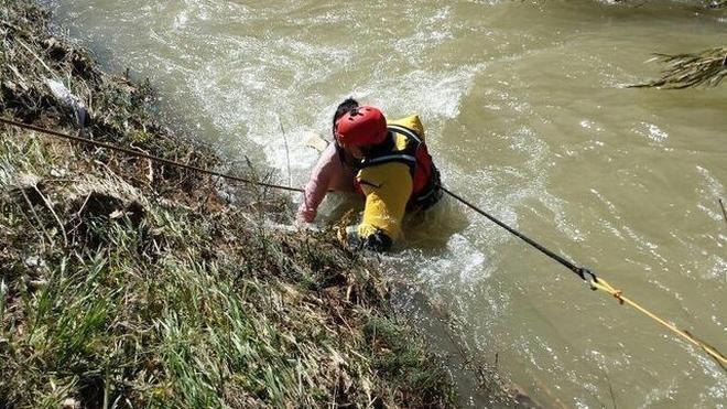Los bomberos rescatan a una chica que se lanzó al Turia para salvar a uno de sus perros