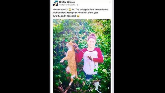 Despiden a una veterinaria por publicar en Facebook una foto del gato que mató con una flecha