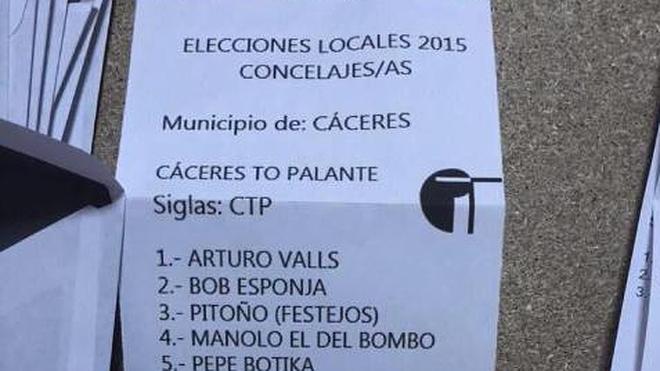 Arturo Valls y 'Bob Esponja' se cuelan en las listas de Cáceres para las elecciones