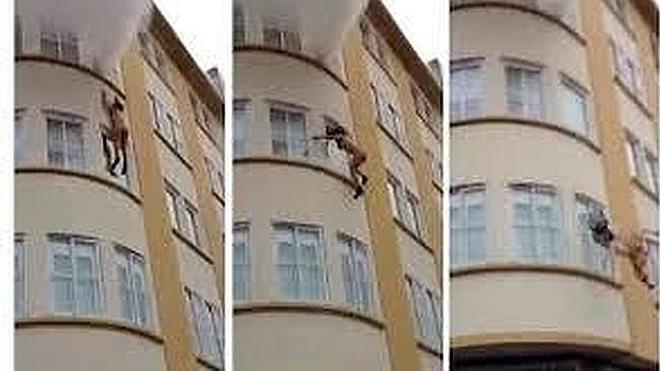 El vídeo de la mujer salvada por sus vecino al saltar al vacío huyendo de un incendio
