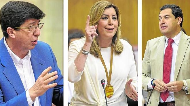 Moreno y Marín rivalizan por el impuesto de sucesiones y Díaz ironiza sobre la «pelea» en la derecha cara al 26J