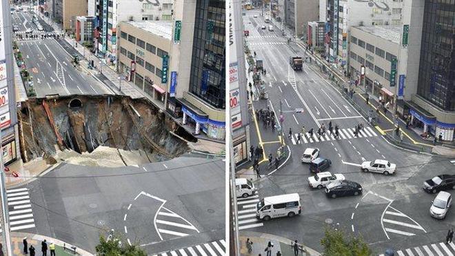 Obreros japoneses arreglan un enorme socavón en una calle en sólo 48 horas