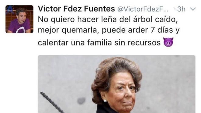 "Un cargo de Podemos dice que a Barberá ""hay que quemarla para calentar a familias sin recursos"""