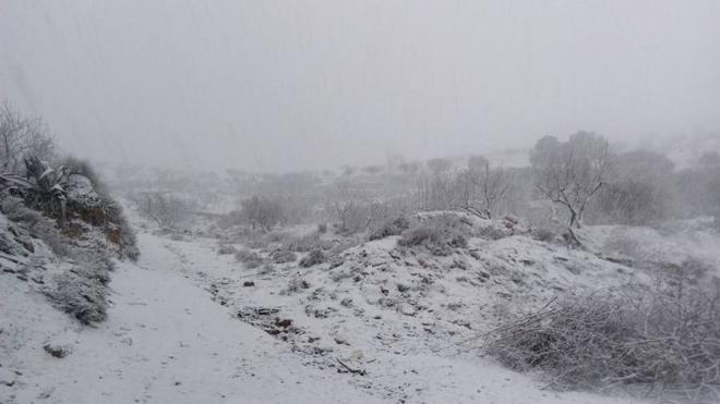 El temporal de nieve deja nueve vías afectadas en Almería