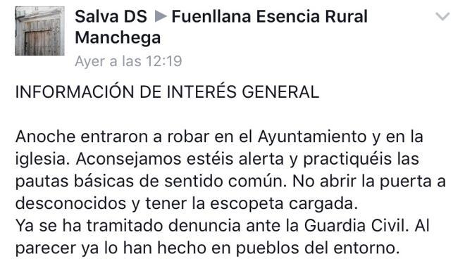"""Un alcalde español recomienda a su pueblo """"tener la escopeta cargada"""""""