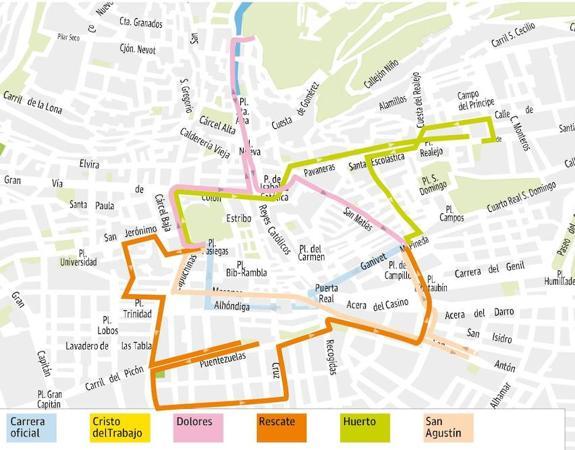 mapa de itenerarios Lunes Santo en Granada: mapa de itinerarios y horarios de  mapa de itenerarios
